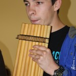 Jake tries out a pan flute.