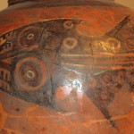 A shark design on a pot found at the Huaca Pucllana.