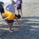 Derek tries to make friends with a crab,