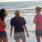 Maria, Natalie and Gina say goodbye to the ocean.