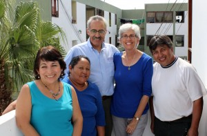 The Peru SST team gathered at Casa Goshen the last full day the students were in Lima. They are (from left): Lima Study Coordinator Celia Vasquez; Alicia Taipe Tello, who cooks for the students; Co-Directors Richard R. Aguirre and Judy Weaver; and Service Coordinator Willy Villavicencio,