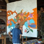 Victor Delfin, Peru's best known artist, creates another painting at  his studio in the Barranco district of Lima.