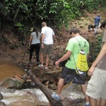 The students decided to hike to one of Kimo's many waterfalls.