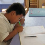 A student at work.