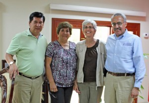 Mayor Juan Alvarez Andrade, an aide, and Peru SST Co-Directors Judy Weaver and Richard R. Aguirre.