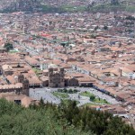The main plaza of Cusco is in the foreground of this photo.
