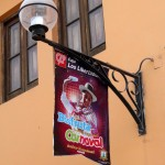 A banner on a light post advertises the carnival celebration.