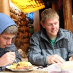 Caleb and Dean enjoy almuerzo after the textile workshop.