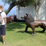Derek examines a lion statue.