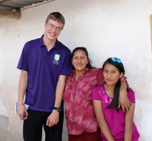 Thomas with his host mother, Maria Luz Ludeña, and his host sister, Reina.