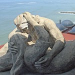 A model of El Beso, The Kiss, Victor Delfin's most famous sculpture. The full-sized sculpture is in a park in the MIraflores district of Lima.