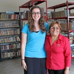 April with her supervisor, Rosa Huarca Equizabal, the municipality's director of educational programs.