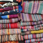 Scarves for sale at the Sunday market in Chinchero.