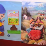 A poster in Natalie's classroom depicts an Andean scene that would be  familiar to the students.