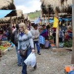 Aimee strolls through the market in Chinchero.