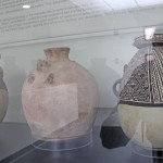 Ancient pots on display in the museum.
