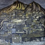 A Delfin painting that depicts a tuberculosis outbreak in a Lima shantytown.