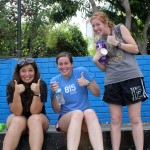 Maria, April and Natalie signal thumbs up for a great afternoon of play and friendship.