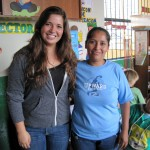 Maria and pre-school teacher Isabel.