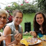 Peru SST Co-Director Judy Weaver, Malaina and April enjoy ceviche for lunch.
