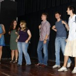 "Gretchen, Maria, Aimee, Derek, Dean and Neal act in ""Lost in Peru,"" an original play the students wrote. In this scene, they have arrived early in Lima and without their faculty leaders."