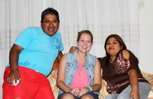 Malaina with her Chancay host parents, Eduardo Duran and Kelly Hipolita Delgado.