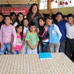 Maria with the primary school children.