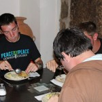 Jake enjoys a meal in Cusco.