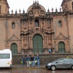 Goshen College men in front of the cathedral in Cusco.