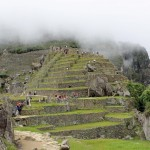 The outline of a pyramid was shaped by Inca builders out of earth, terraces and stones.