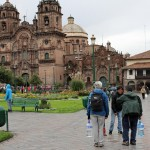 Strolling the the Plaza de Armas in Cusco.