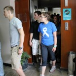 Jackson, Jake, Malaina and Gina stride through the RPP radio offices,