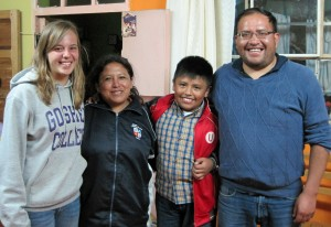 Gina with her host parents, Juan Baldoseda and Carmen Banon, and one of her host brothers.