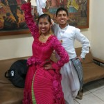 Dancers pose after performing La Marinera at a folkloric dance show in Cusco.
