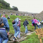 Students hike to an overlook  at Machu Picchu.