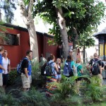 Students in the courtyard of the Delfin home and studio.