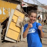 "Gina signals ""thumbs up"" for another rewarding day in Peru."