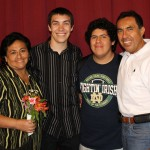 Jake with host parents, Celia and Eduardo Nue Pereda, and host brother, Richie.