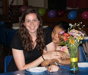 April with her host sister, Daniela.