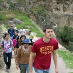 Neal and Jonathan lead students to the heights of Ollantaytambo.