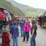 Students visit the market outside the main complex at Ollantaytambo.