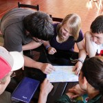 Thomas, Jonathan, Aimee, Jake and Gretchen study a map of Ayacucho.