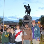 Gretchen, Aimee, Jake, Jonathan and Thomas pose in front of a statue of General Antonio José de Sucre, who commanded troops that defeated a Spanish army and set the stage for Peruvian independence. The status is in the Plaza de Armas.