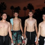 Caleb, Dean, Jackson and Jake return from a sunset swim at Kawai.
