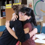 Malaina says farewell to her Spanish teacher, Bivi Goto.