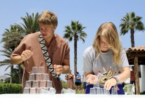 Recreating a popular Peruvian TV show, Derek and Aimee compete to see who can stack cups the fastest.