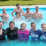 Goshen men make their presence known in the pool –  to great the surprise of the women.