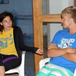 Derek, portraying a Peru SST student who has just arrived home, participates in a role-play exercise with Gretchen.
