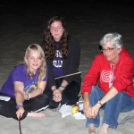 Aimee, April and Peru SST Co-Director Judy Weaver at the bonfire.