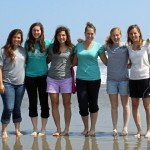 Maria, April, Gretchen, Malaina, Natalie and Gina on the beach during the last afternoon of our retreat.
